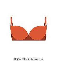 orange balconette brassier design icon vector illustration