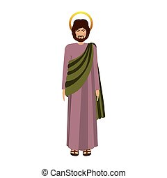 picture colorful saint josepf father vector illustration
