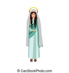 colorful figure human of saint virgin maria vector...