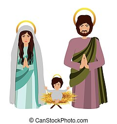 sacred family with baby jesus kneel