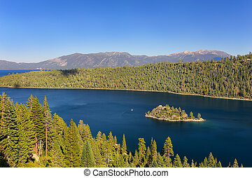 Fannette Island in Emerald Bay at Lake Tahoe, California,...