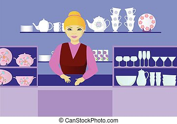 seller indishes shop - seller in dishes shop cartoon vector...