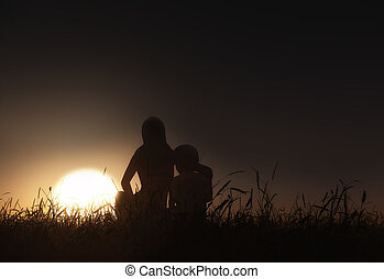 3D landscape with mother and son sitting against a sunset sky