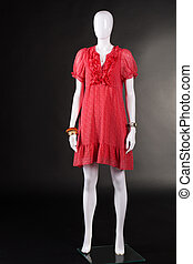 Red v-neck dress and accessories. Mannequin wearing red...