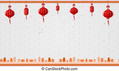 Chinese art background and red lantern with moving border...