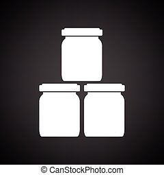 Baby glass jars icon. Black background with white. Vector...