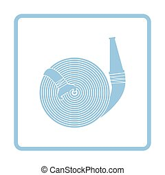 Fire hose icon. Blue frame design. Vector illustration.