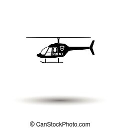 Police helicopter icon. White background with shadow design....