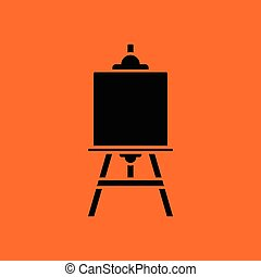 Easel icon. Orange background with black. Vector...