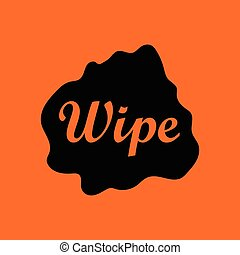 Wipe cloth icon. Orange background with black. Vector...