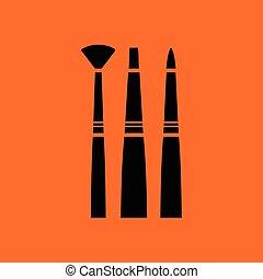 Paint brushes set icon. Orange background with black. Vector...