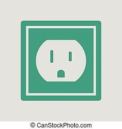 Electric outlet icon. Gray background with green. Vector...
