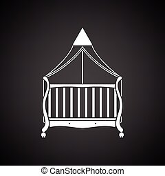 Cradle icon. Black background with white. Vector...