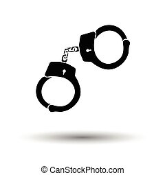 Police handcuff icon. White background with shadow design....