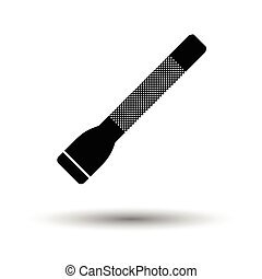 Police flashlight icon. White background with shadow design....