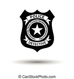 Police badge icon. White background with shadow design....