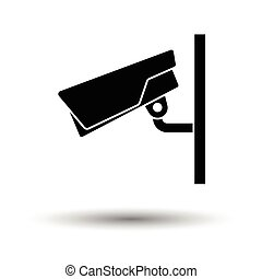 Security camera icon. White background with shadow design....