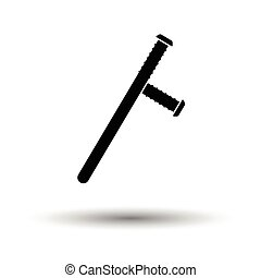 Police baton icon. White background with shadow design....