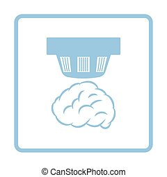 Smoke sensor icon. Blue frame design. Vector illustration.