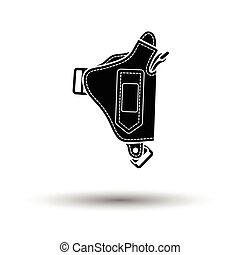 Police holster gun icon. White background with shadow...