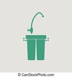 Water filter icon. Gray background with green. Vector...
