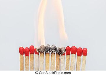 Matches ignition closeup. Ignition, danger concept