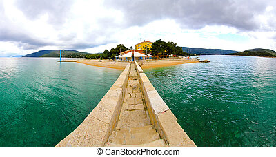 Adriatic cape - Panoramic shot from causeway of Adriatic...