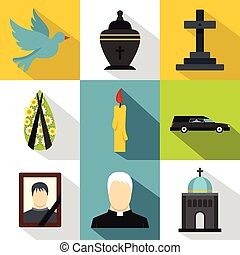 Funeral services icons set, flat style - Funeral services...