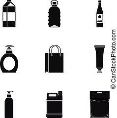 Empaquetado, Conjunto, estilo,  simple, iconos