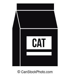 Cat food bag icon, simple style