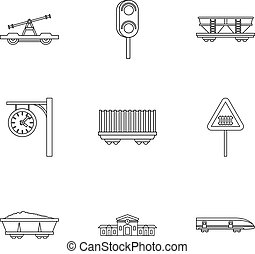 Iron way road icons set, outline style - Iron way road icons...