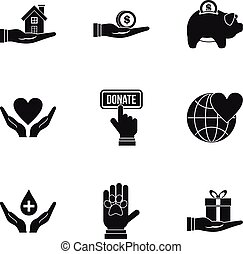 Sponsorship icons set, simple style - Sponsorship icons set....