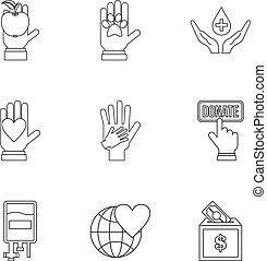 Sponsorship icons set, outline style - Sponsorship icons...