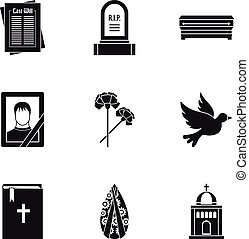 Death icons set, simple style - Death icons set. Simple...