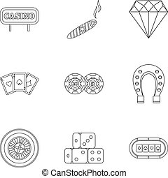 Gambling icons set, outline style - Gambling icons set....