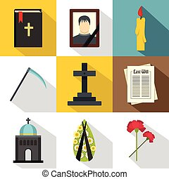Death of person icons set, flat style - Death of person...