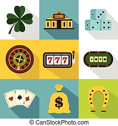 Gambling icons set, flat style - Gambling icons set. Flat...