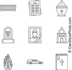 Death icons set, outline style - Death icons set. Outline...