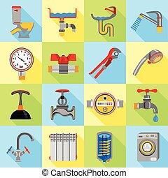 Plumber symbols icons set, flat style - Plumber symbols...