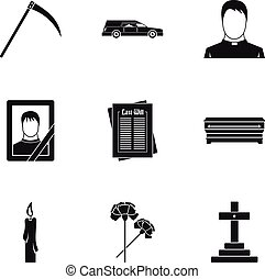 Burial icons set, simple style - Burial icons set. Simple...