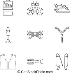 Tools for sewing dresses icons set, outline style - Tools...