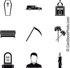Death of person icons set, simple style - Death of person...