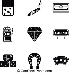 Gambling icons set, simple style - Gambling icons set....