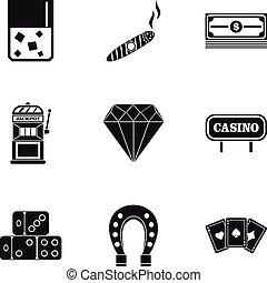 Gambling icons set, simple style - Gambling icons set....