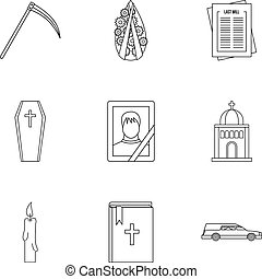 Funeral icons set, outline style - Funeral icons set....