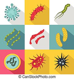 Viruses icons set, flat style