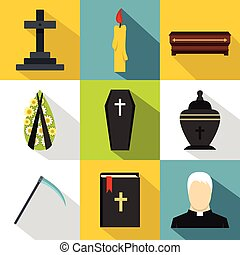 Burial icons set, flat style - Burial icons set. Flat...