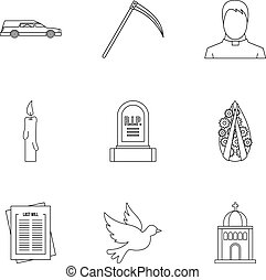 Burial icons set, outline style - Burial icons set. Outline...
