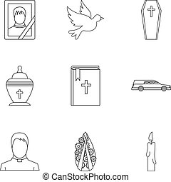 Death of person icons set, outline style - Death of person...