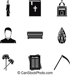 Funeral services icons set, simple style - Funeral services...
